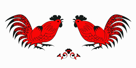 personages: Fighting of red roosters on a white background. Symbol of Chinese horoscope and folklore personage. Vector illustration suitable as part of the ornament, design elements for  decoration, etc. Illustration