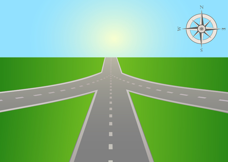 The illustration of road junction on the highway with a compass. Vector is perfect to illustrate the travels, adventures, logistics, navigation, the choice places in life, etc. Horizontal location. Vettoriali