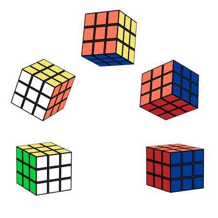 intellectual: Different variants of the Rubiks cube in flight. The intellectual toy, square 3x3. Vector illustration of puzzles. Square location.