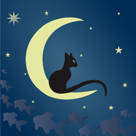 covert: A black cat sits on the moon and catches fish among the starry sky. Vector illustration suitable for illustrating mysteries, covert, unusual and enigmatic stories, fantasy, fairy tales, etc. Square.