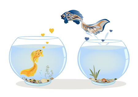 goldfish jump: Fish in love jumping to other aquarium to his beloved.  Romantic feeling concept. Greeting card with Valentines day, the recognition in infatuation. Vector illustration. Horizontal location.