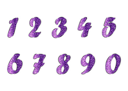amethyst: Standard set of numbers. Vector collection in amethyst, purple tones with spangle. Can be used as a design element, independent project, in web draft, etc. Isolated on white background. Horizontal. Illustration