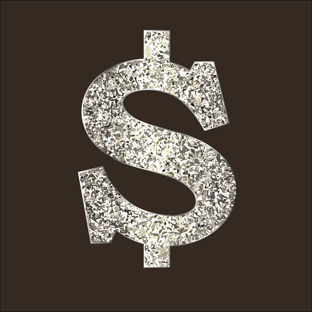Dollar icon from of silver or platinum with sparkle. Sign USA currency is made in a flat style. Vector illustration on dark. Square location. Symbolizes american currency, money, payment, sell etc. Illustration