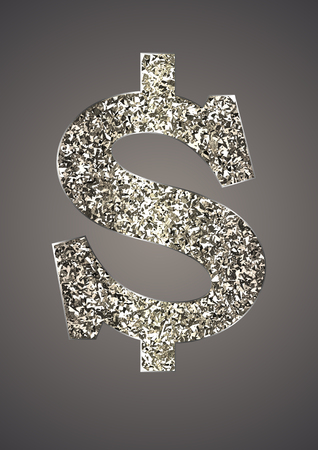 Jewelry in form of dollar on dark background. Icon USA currency from of silver, platinum, gold with sparkle. Symbolizes  luxury, success, can be used in jewelry promotion, web design, etc. Vector.