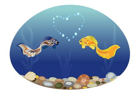 Fish in love Illustration