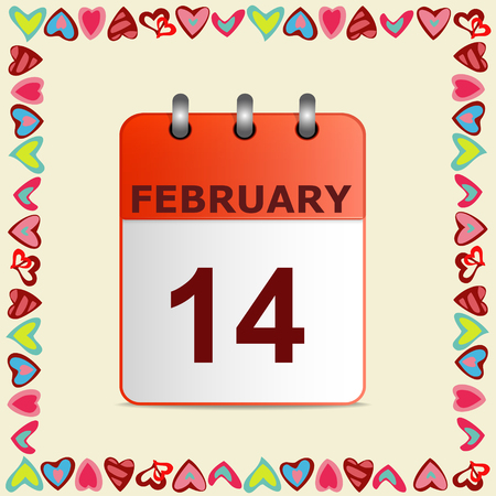 love declarations: Valentines day, calendar icon in frame of hearts on yellow.