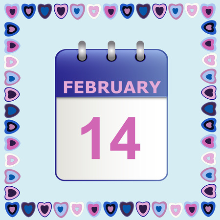 detachable: Valentines Day, calendar icon in frame of hearts on blue.