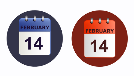 detachable: 14 February, calendar icon in two variants