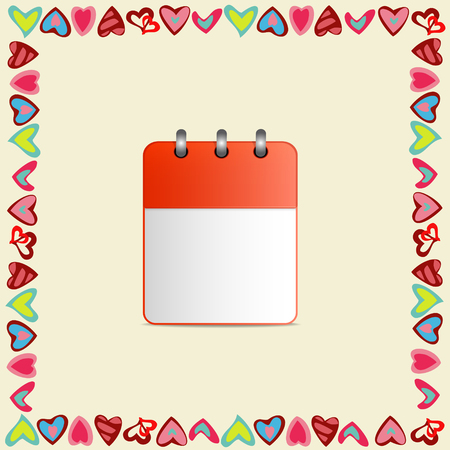 detachable: Blank sheet of calendar in a frame of hearts on yellow background