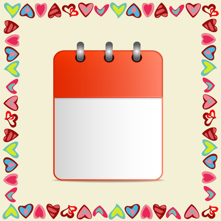 detachable: Blank sheet of calendar in a frame  hearts on yellow background