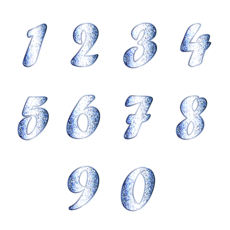 whiteblue: Set of numbers in white-blue tones
