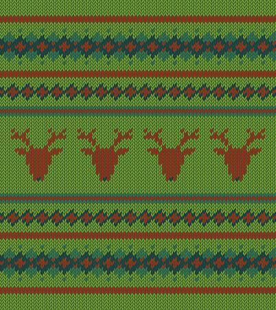 sweatshirt: Knitted  texture on green background Illustration