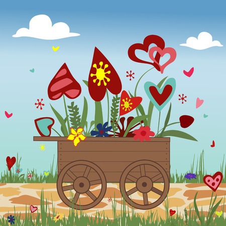 hand truck: Hand truck with hearts on sky background