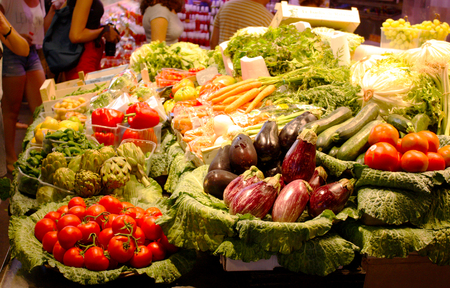 Vegetable tray at a market Stock Photo