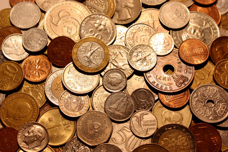 Background From Coins The Currencies Of Different Countries Stock