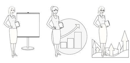 managing: Set of illustrations of a businesswoman in a monochrome version.