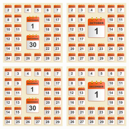 Universal set of wall calendar from September to December.