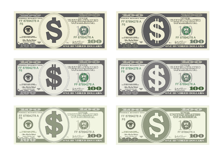 100 Dollars Banknote. Design bill one hundred dollars in six options. Suitable for discount cards, leaflet, coupon, flyer, vouchers, gift card. Vector in flat style. USD isolated on white. Horizontal.