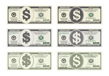 100 Dólares Billetes. Proyecto de ley de cien dólares en seis opciones. Conveniente para las tarjetas del descuento, el prospecto, el cupón, el aviador, los vales, la tarjeta de regalo. Vector en estilo plano. USD aislados en blanco. Horizontal.