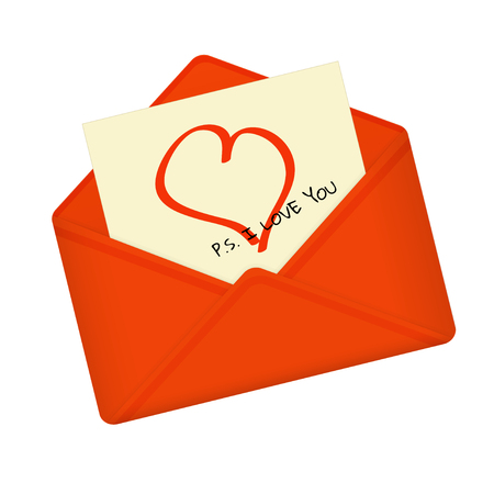 Letter in open red envelope. Postcard with heart and  message: P.S. I love you. Valentine letter, flat icon. Declaration of love. Vector illustration. Isolated on white background. Square location. Illustration