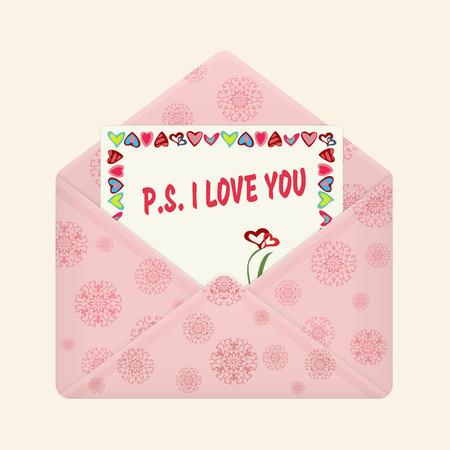 Carta en abierto sobre colorido. Postal con un mensaje: PD. Te amo. Carta de San Valentín, icono plano. Declaración de amor. Ilustración vectorial Aislado en fondo claro. Ubicación cuadrada. Foto de archivo - 80785397