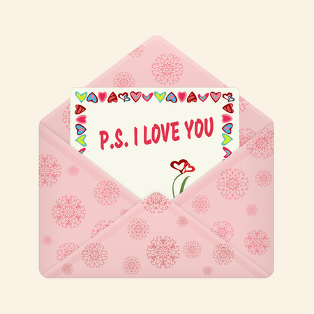 Letter in open colorful envelope. Postcard with a message: P.S. I love you. Valentine letter, flat icon. Declaration of love. Vector illustration. Isolated on light background. Square location.