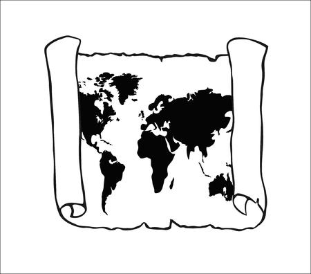 World map on old papyrus Ilustração