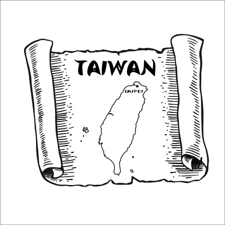 Scroll with a map of Taiwan. The sketch mimics the old papyrus paper. Vector illustration. Picture isolated on white background. Square location. Ilustração