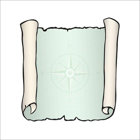 Schizzo di antico rotolo, isolato su bianco.