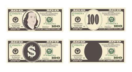 Banconota da 100 dollari. Vettoriali