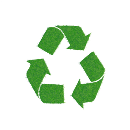 Icon green sign of recycling, isolated on white background. Illustration