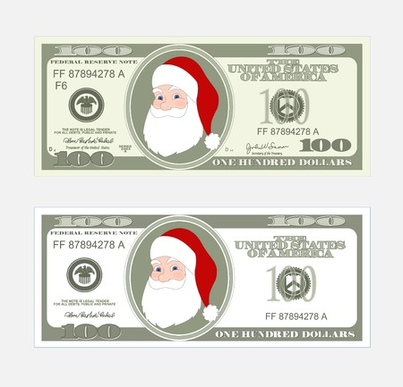 Design template 100 Dollars Banknote with Santa Claus. Bill one hundred dollars. Suitable for discount cards, leaflet, coupon, flyer, vouchers. Vector in  flat style. USD isolated on white background.