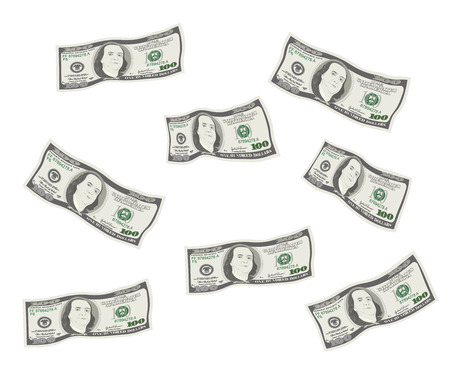 100 Dollars Banknote. Bill one hundred dollars isolated on white background. Concept of prosperity, success, growth in business. Money rain. Flying, falling currency of US. Vector, flat style.