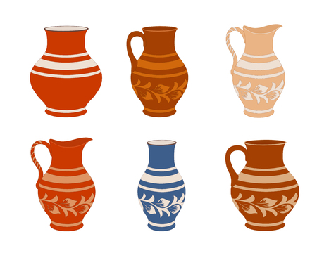 Set of ceramic crockery. Collection jugs in different variation. Rustic pottery utensils, colorful vector illustration for your design. Horizontal location.