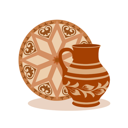 Composition of ceramic jug with tray. Rustic colorful kitchen utensil in brown tones, vector illustration for your design. Square location.