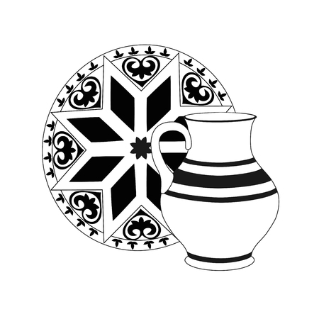 Composition of monochrome jug with tray. Crockery in black and white colors. Rustic ceramic utensils, unicolorous vector illustration for your design. Square location. Illustration