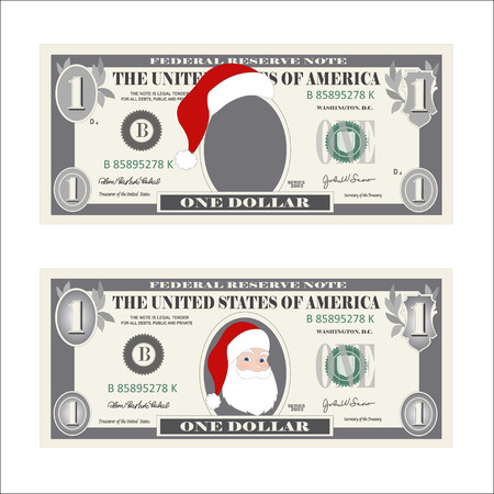 Design template 1 Dollar Banknote with Santa Claus. One dollar bill for Christmas sales. Suitable for discount cards, leaflet, coupon, flyer, vouchers. Vector in flat style. Isolated on white.