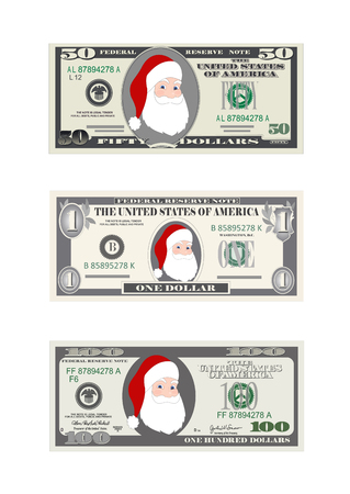 Design Template Dollars Bill With Santa Claus Christmas Set Of In Various Denominations