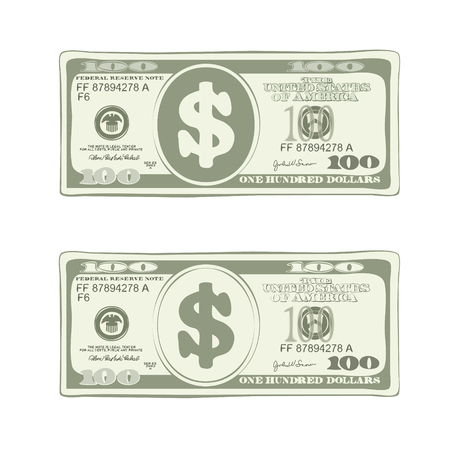 Vector design of one hundred dollar bill in green colors.