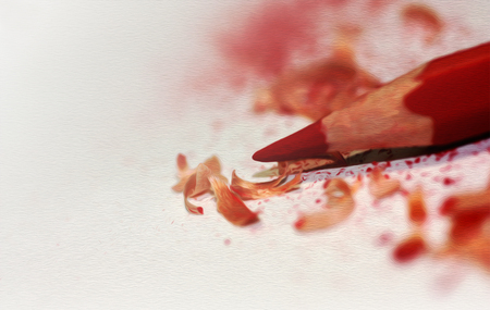 Red pencil closeup. Illustration done in the style of drawing oil paints.