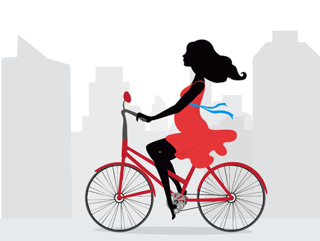 Pregnant woman in red dress rides bicycle on background of city. Illustration