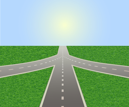 Road leading to horizon and sunlit sky Illustration