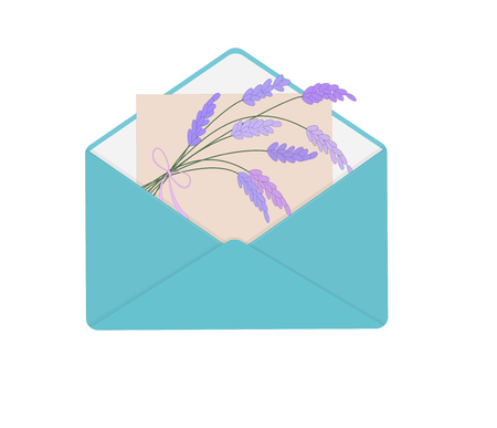 Letter in open blue envelope with bouquet of lavender. Perfect for your romantic concept, Valentines Day, congratulations, recognition, as element design greeting card.  Vector illustration.