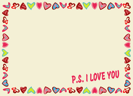 Frame of hearts on a yellow background with text P.S. I love you. Perfect for your romantic concept, Valentines Day, congratulations, recognition, as element design cards. Vector illustration.