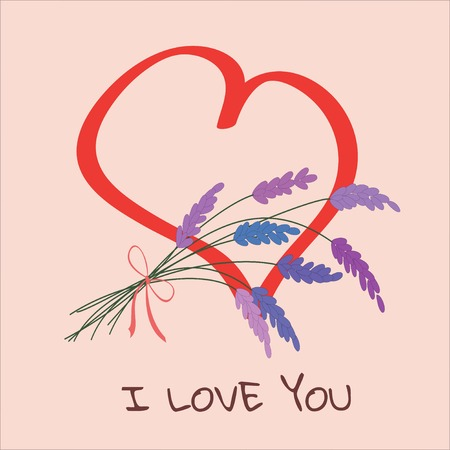 Pale pink sticker with painted heart and Declaration of love. Greeting card with bouquet of lavender. Text I LOVE YOU. Perfect for romantic concept, Valentine`s Day. Vector illustration. Square.