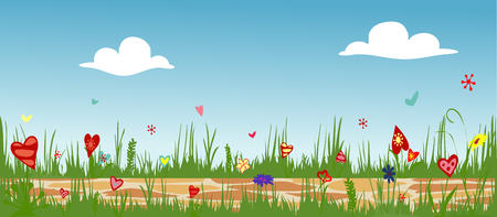 Floral arrangement from hearts cobbled path through blooming flower field. Sunny summer composition vector illustration symbolizing joy, love and happiness. Illustration