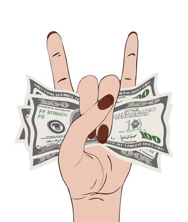 Rock-n-roll hand gesture with clutched currency USA.