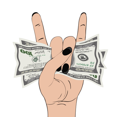 Rock-n-roll hand gesture with clutched currency USA. Hand grasping several of dollars. Heavy metal sign with money.