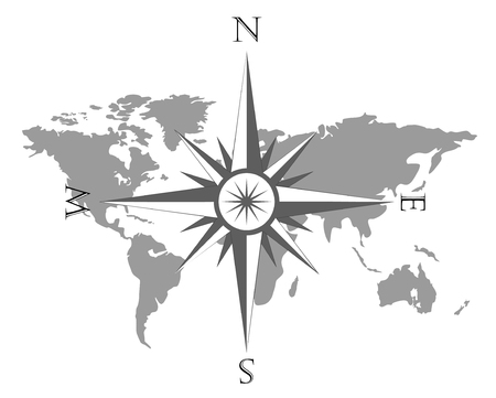 Vector illustration of world map with wind rose, navigation compass.