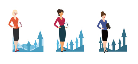 Set of business woman with growing up charts